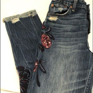 Vintage style A & F jeans with floral embellis